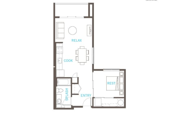 One Bed One Bath Floor Plan at Vue 22 Apartments, Bellevue