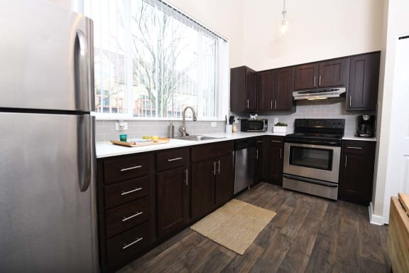 Modern Kitchen With Cabinet at Russellville Commons, Portland, OR
