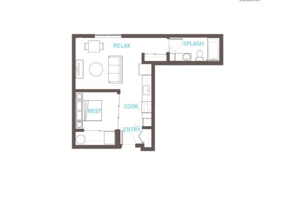 Floor Plan  1 Bedroom 1 Bathroom Floor Plan at Vue 22 Apartments, Washington