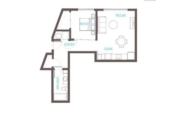 Floor Plan  One bedroom One bathroom Floor Plan at Vue 22 Apartments, Washington, 98007