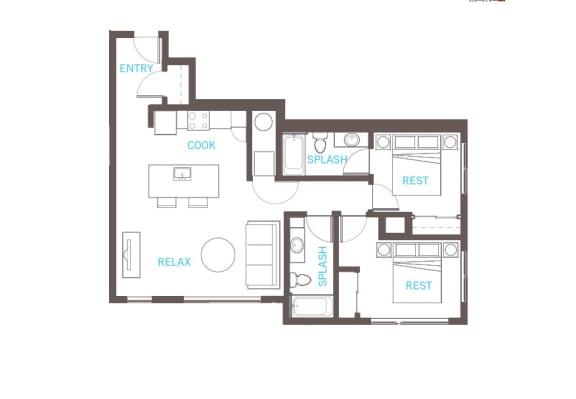 Floor Plan  2 Bedroom 2 Bathroom Floor Plan at Vue 22 Apartments, Bellevue, 98007