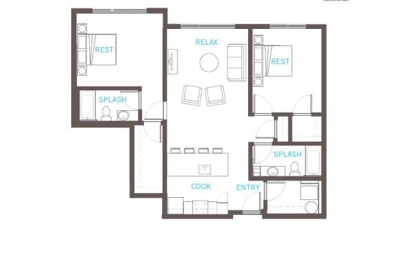 Floor Plan  2 Bedroom 2 Bathroom Floor Plan at Vue 22 Apartments, Washington, 98007