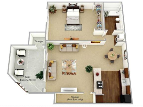 1 Bed 1 Bath Willow Floor plan at Waterleaf Apartment Homes, California