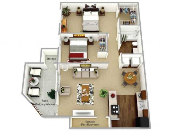 Floor Plan  b1 floor plan at Waterleaf Apartment Homes, 92083