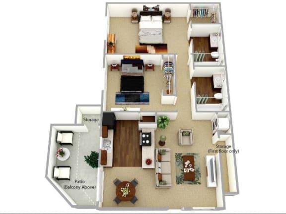 Floor Plan  b2 floor plan at Waterleaf Apartment Homes, CA 92083