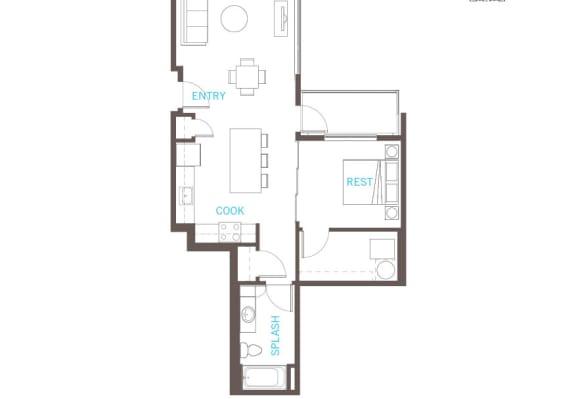 Floor Plan  1 Bedroom 1 Bathroom Floor Plan at Vue 22 Apartments, Bellevue, WA, 98007