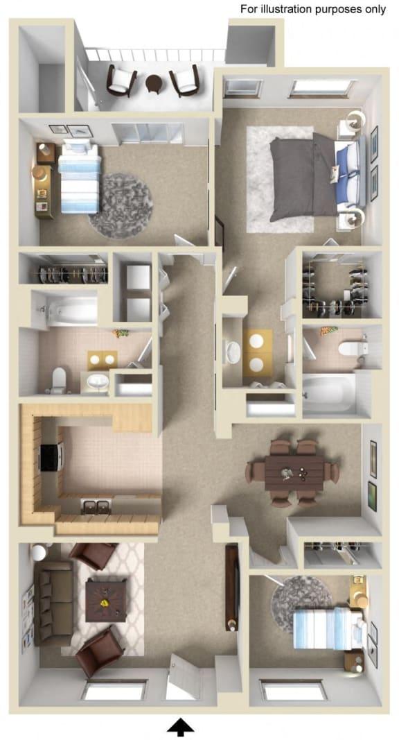 Versatile 2 Bed 2 Bath Floor Plan at Greenfield Village, San Diego, 92154