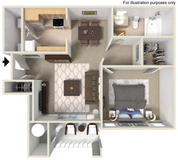 A- Bartlett 656 SF Floor Plan, at Casoleil, San Diego, CA