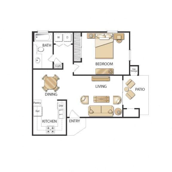 Plan A - One Bedroom - Renovated Floor Plan, at Altair, Escondido, California