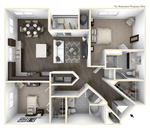 Two Bedroom Two Bath Floorplan