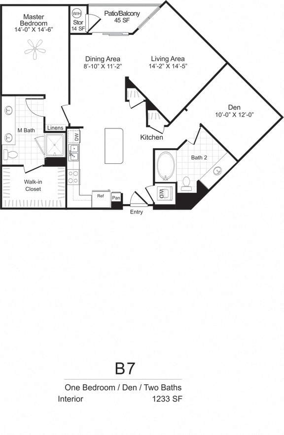One Bedroom Two Bath plus Den Floorplan