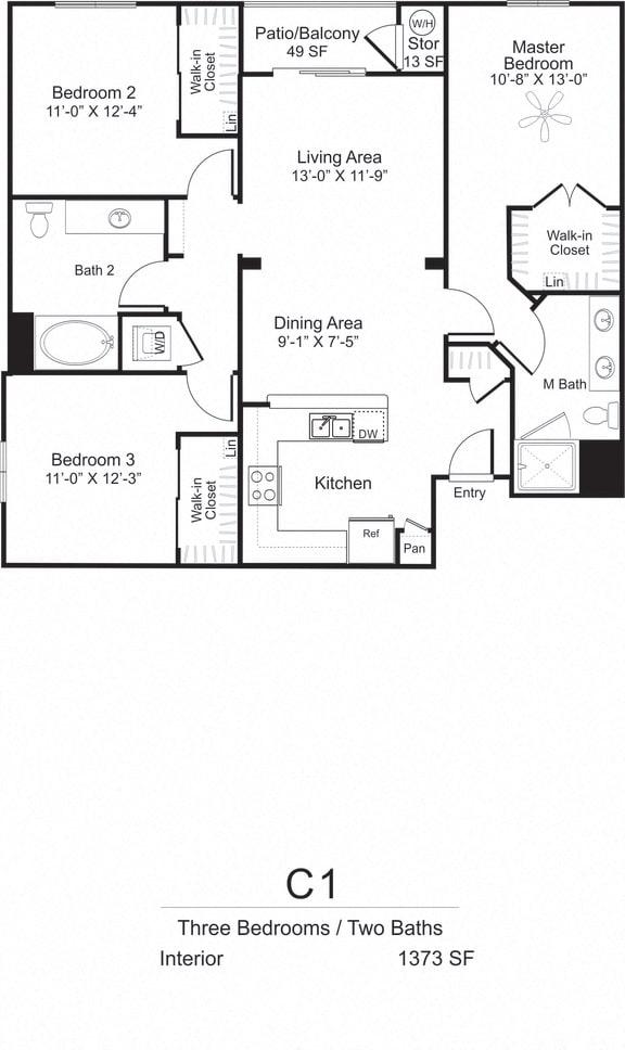Three Bedroom Two Bath Floorplan