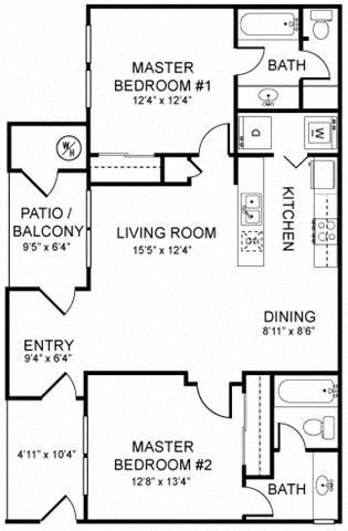 A2 Floor plan, at Rosina Vista, 1551 Summerland Street, CA