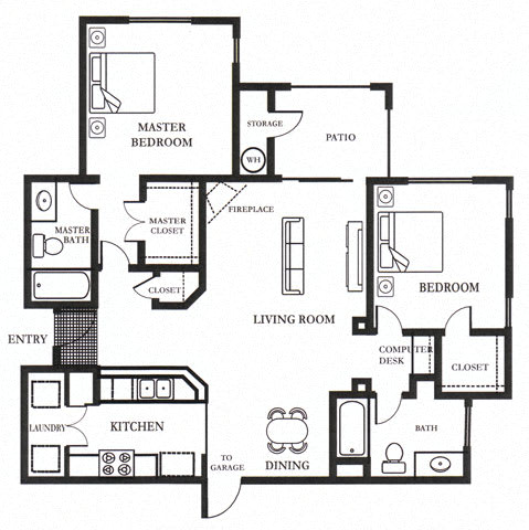 D- Brandriff 1,098 SF Floor Plan, at Casoleil, San Diego, 92154