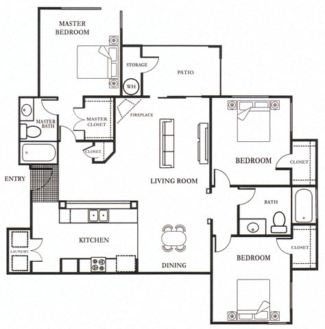 E- Lauritz 1,295 SF Floor Plan, at Casoleil, San Diego, 92154