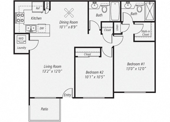 Floor Plan  Two Bedroom/Two Bath Floor plan, at Park Pointe, El Cajon, California