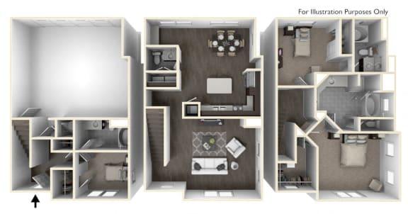 Three Bedroom Three and a Half Bath Floorplan