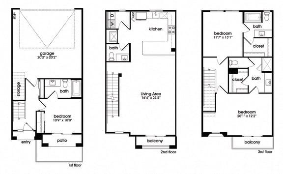 Three Bedroom Three and a half Bathroom