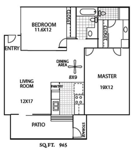 Floor Plan  2 Bedroom/2 Bath, opens a dialog