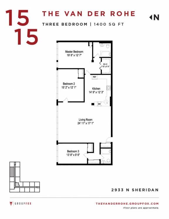 Group Fox - The Van Der Rohe - Three Bedroom Floor Plans