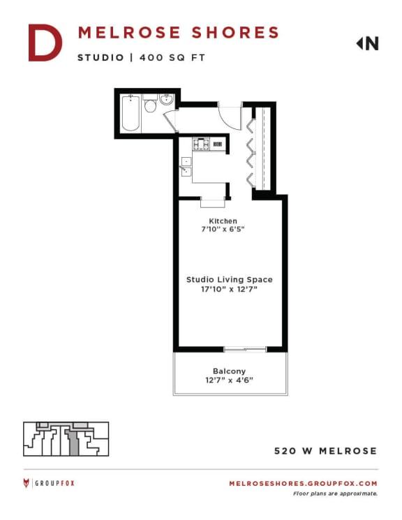 Melrose Shores - Studio Floorplan D