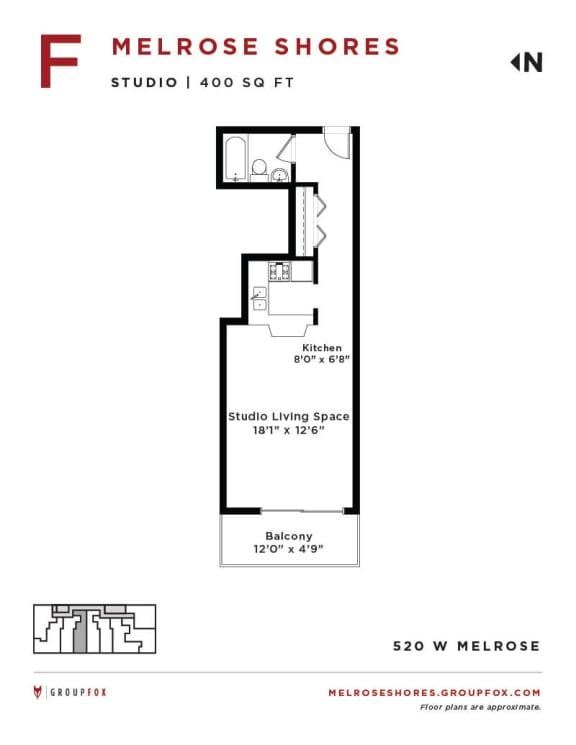 Melrose Shores - Studio Floorplan F