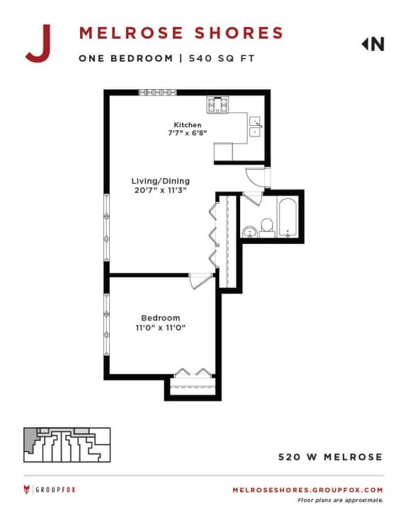 Melrose Shores - One Bedroom Floorplan J