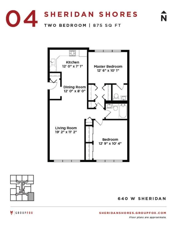Sheridan Shores - Two Bedroom Floorplan