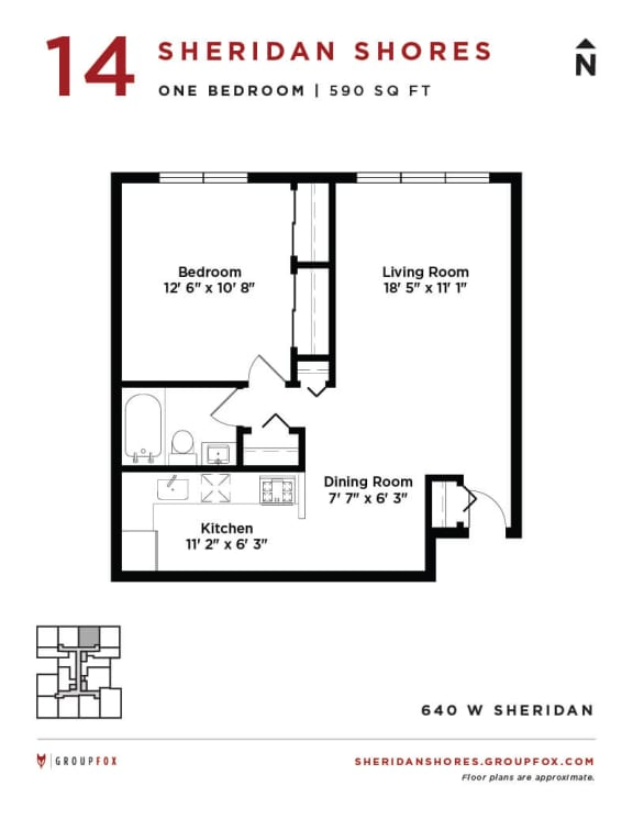Sheridan Shores - One Bedroom Floorplan