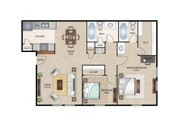 Floor Plan  Layout of Magnolia floor plan at Arbors of Cleburne Apartments
