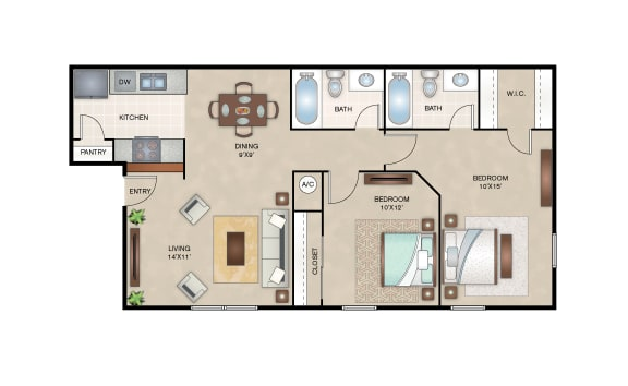 Floor Plan  Mulberry floor plan layout at Arbors of Cleburne Apartments
