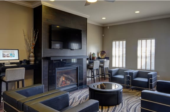 Clubhouse with Resident Lounge and Fireplace at Algonquin Square Apartment Homes, Algonquin, IL,60102