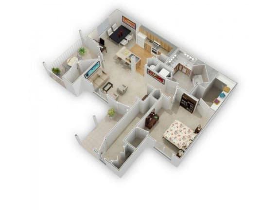 1 Bed 1 Bath Floor Plan at Farmington Lakes Apartments, Oswego