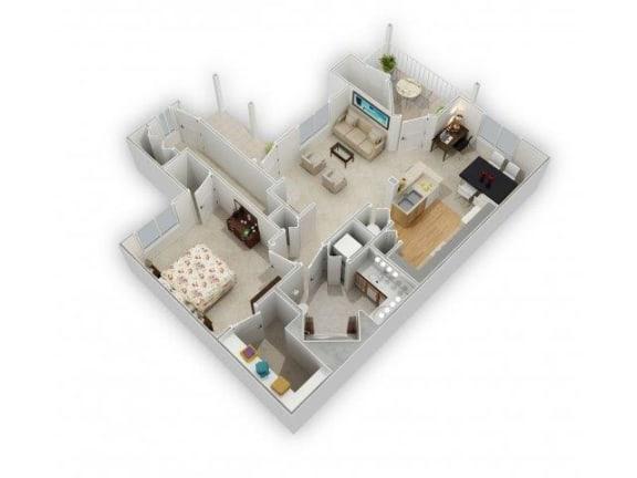1 Bedroom 1 Bathroom Floor Plan at Farmington Lakes Apartments, Illinois