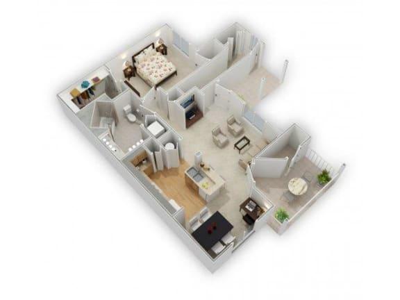 1 Bedroom 1 Bath Floor Plan at Farmington Lakes Apartments, Illinois, 60543