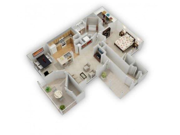 One bedroom One bathroom Floor Plan at Farmington Lakes Apartments, Oswego, IL, 60543