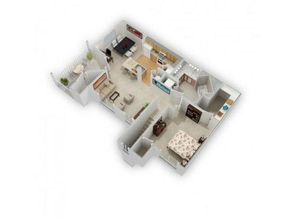 1 Bed 1 Bath Floor Plan at Farmington Lakes Apartments, Oswego, 60543