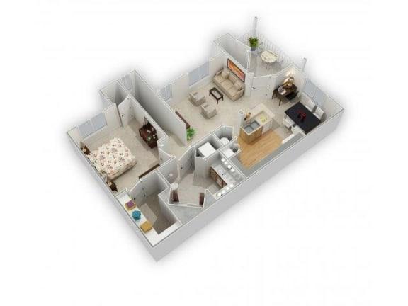 1 Bedroom 1 Bathroom Floor Plan at Farmington Lakes Apartments, Oswego, Illinois