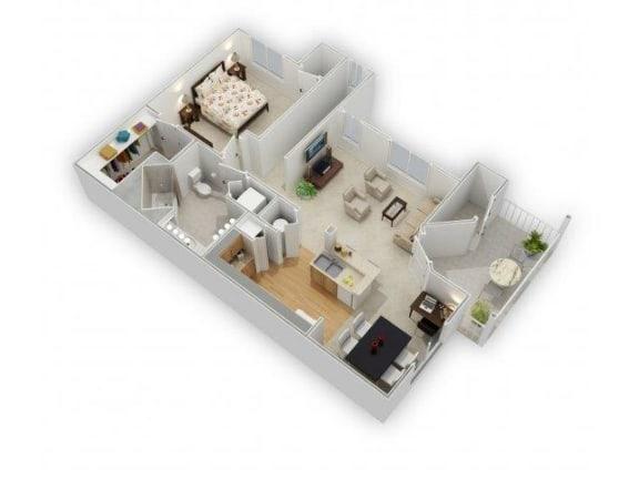 1 Bedroom 1 Bath Floor Plan at Farmington Lakes Apartments, Oswego