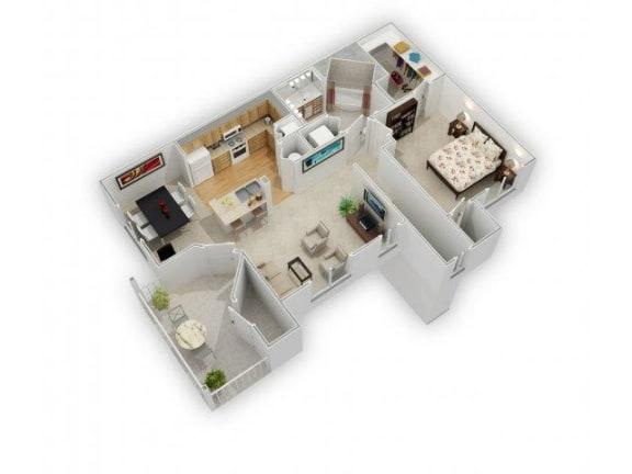 One Bed One Bath Floor Plan at Farmington Lakes Apartments, Illinois