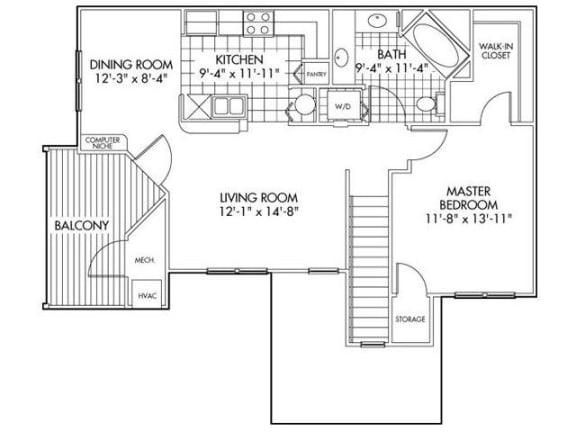 One bedroom One bathroom Floor Plan at Farmington Lakes Apartments, Illinois, 60543