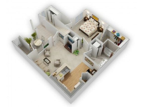 1 Bedroom 1 Bathroom Floor Plan at Farmington Lakes Apartments, Oswego, 60543