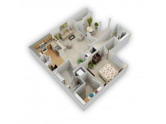 1 Bedroom 1 Bath Floor Plan at Farmington Lakes Apartments, Oswego, Illinois