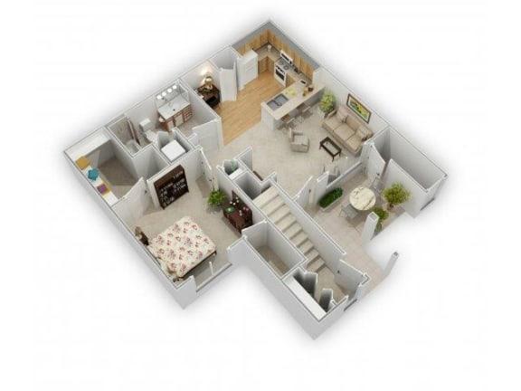 One Bed One Bath Floor Plan at Farmington Lakes Apartments, Oswego