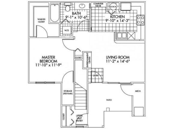 One bedroom One bathroom Floor Plan at Farmington Lakes Apartments, Illinois