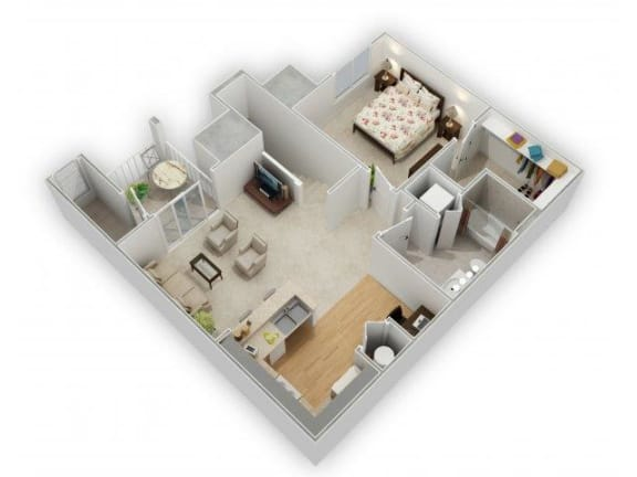 1 Bedroom 1 Bathroom Floor Plan at Farmington Lakes Apartments, Oswego, IL, 60543