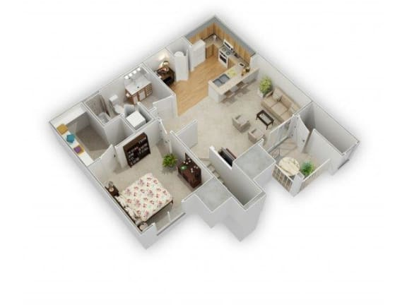 One Bed One Bath Floor Plan at Farmington Lakes Apartments, Oswego, 60543