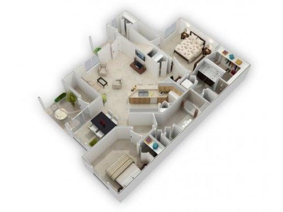 2 Bedroom 2 Bathroom Floor Plan at Farmington Lakes Apartments, Oswego, IL