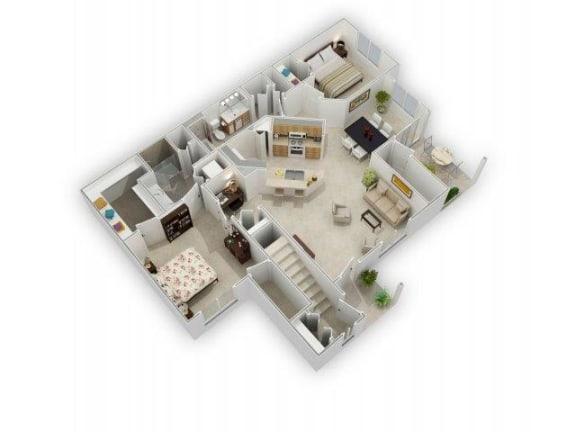Two Bed Two Bath Floor Plan at Farmington Lakes Apartments, Oswego, Illinois