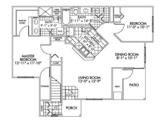 Two bedroom Two bathroom Floor Plan at Farmington Lakes Apartments, Oswego